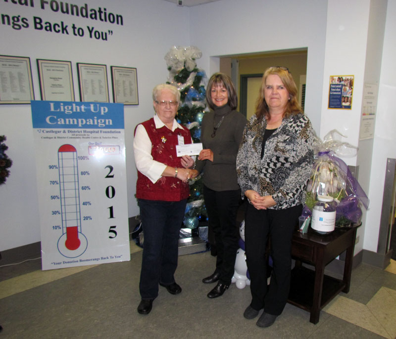 Light Up 2015 - Donation from the Castlegar Hospital Auxiliary Society.