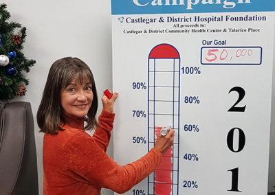 Stefanie Zaytsoff, Office Manager, CDHF, sees the goal thermometer climb.